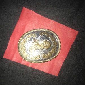 Motorcycle Belt Buckle Silver & Brass